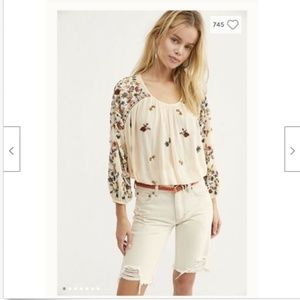 Free People Ecru Seeded cut-offs Org$88